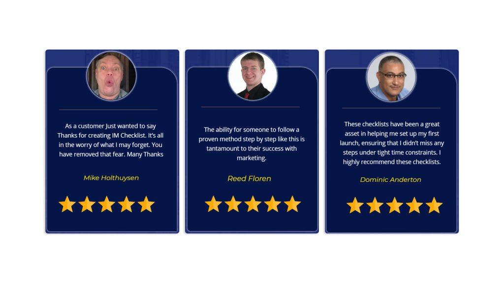 IM Checklist Review-customer reviews